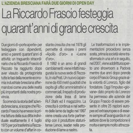La Riccardo Frascio festeggia quarant'anni di grande crescita